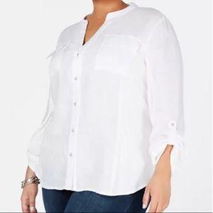 INC International Concepts White Linen Button Up